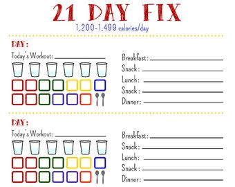 21 Day Fix Tracking Sheet, 1,200 Calorie Bracket Printable PDF