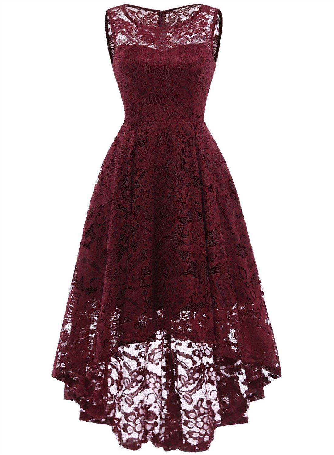 4cce51de73 LaceShe Women s Lace Sleeveless Hi-Lo Cocktail Formal Swing Dress in ...