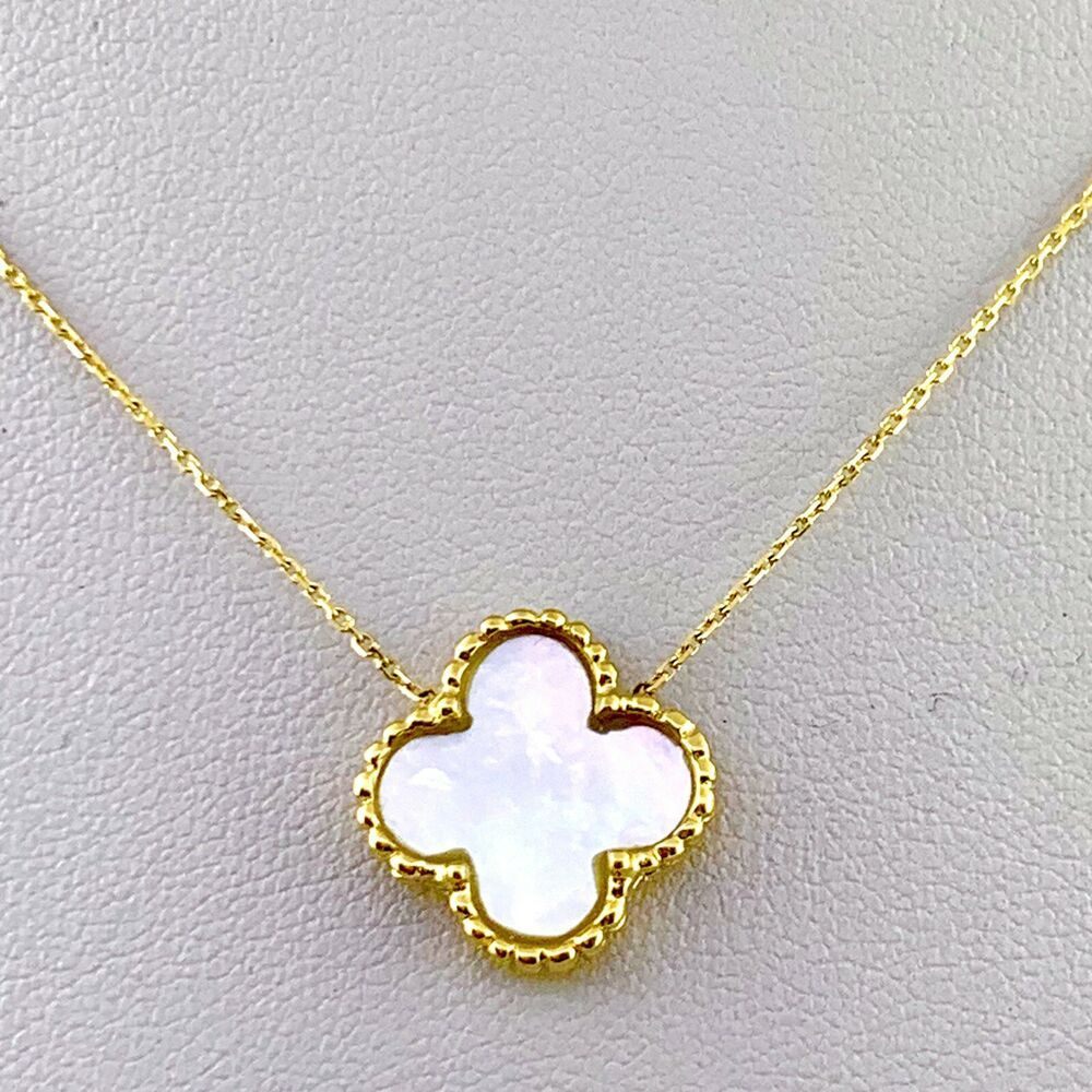 Four Leaf Clover Necklace With Mother Of Pearl In 14k Yellow Gold 16 Inch Ebay In 2020 Clover Necklace Four Leaf Clover Necklace Gold Leaf Necklace