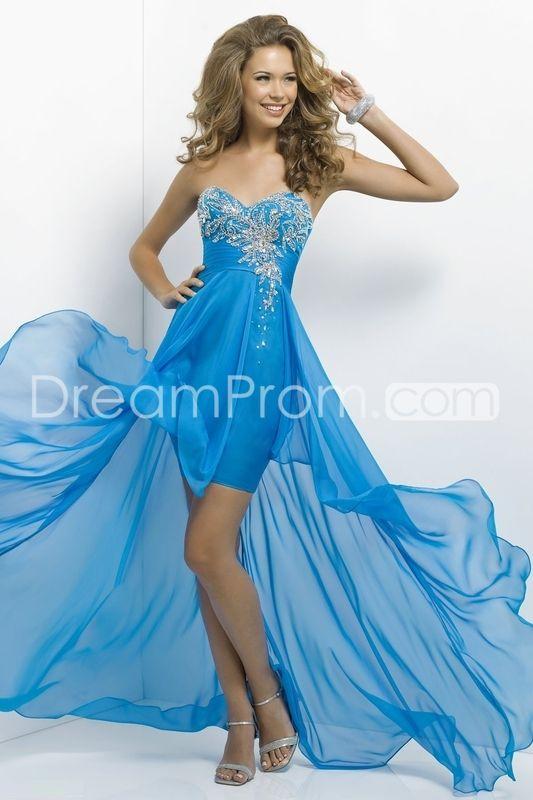 2014 Long Sweetheart Asymetrical Beading Chiffon Prom Dresses