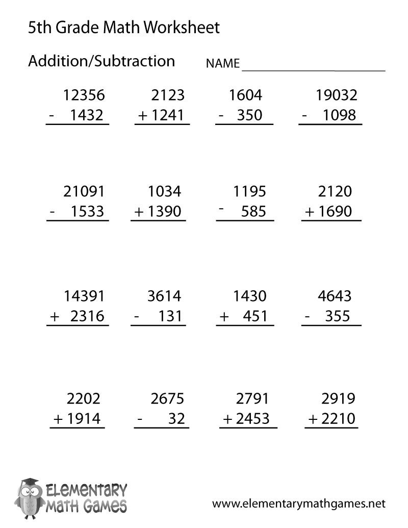 Fifth Grade Arithmetic Worksheet   Math worksheets [ 1035 x 800 Pixel ]