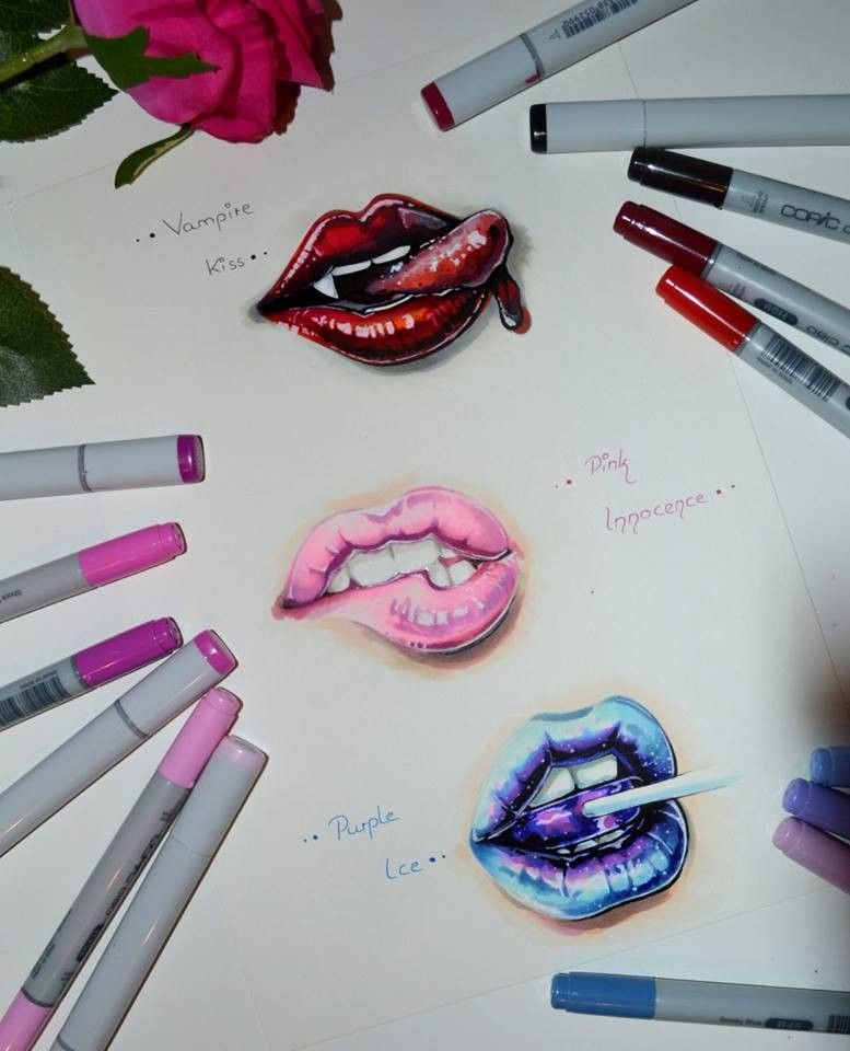 Artstation Lip Pratice Training Time Copic Marker Lighane S