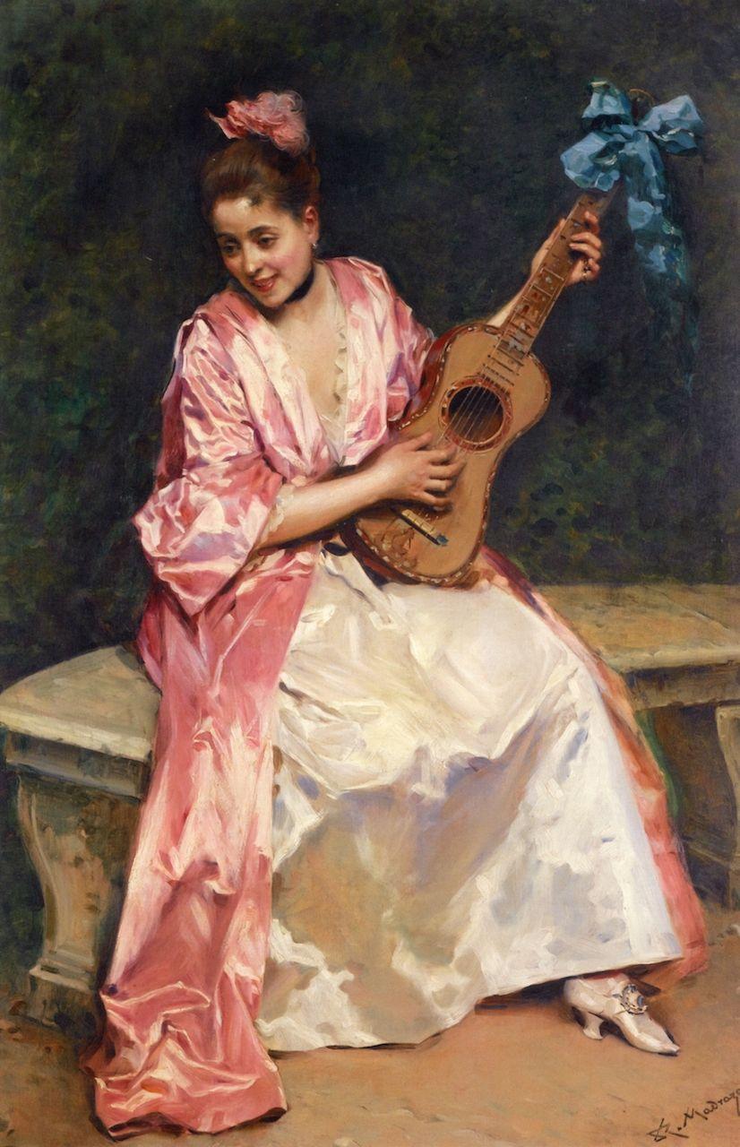 The Athenaeum - Aline with Guitar (Raimundo de Madrazo y Garreta - )