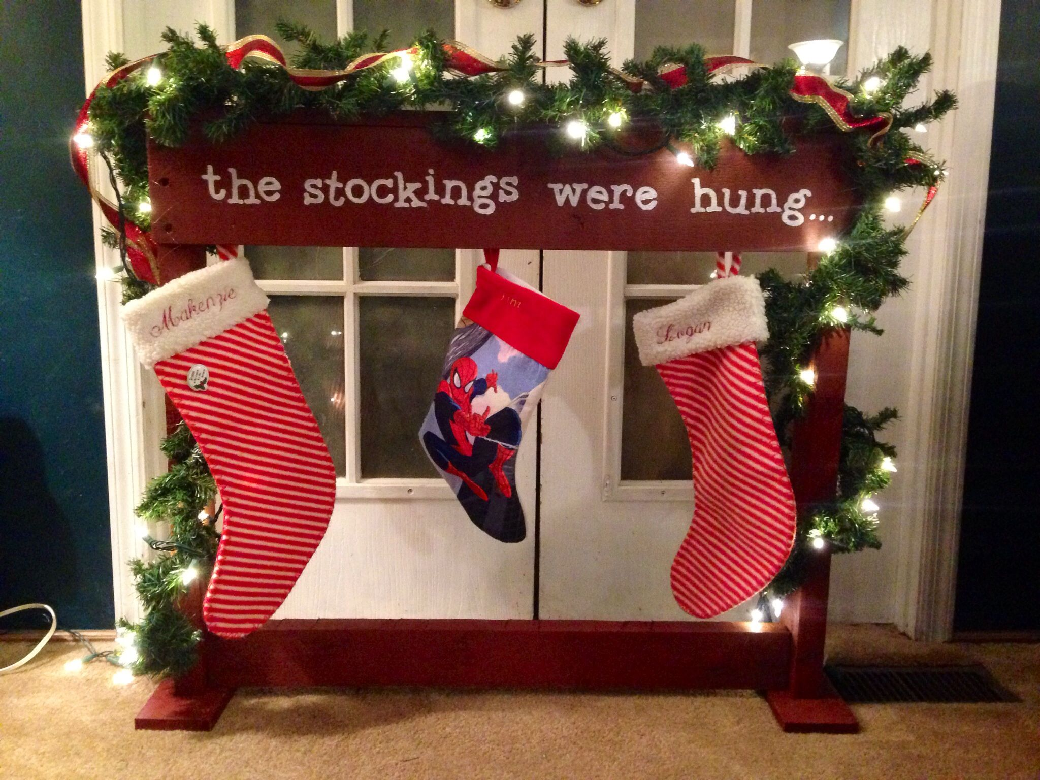 Stocking holder made from pallet wood | Christmas stocking ...