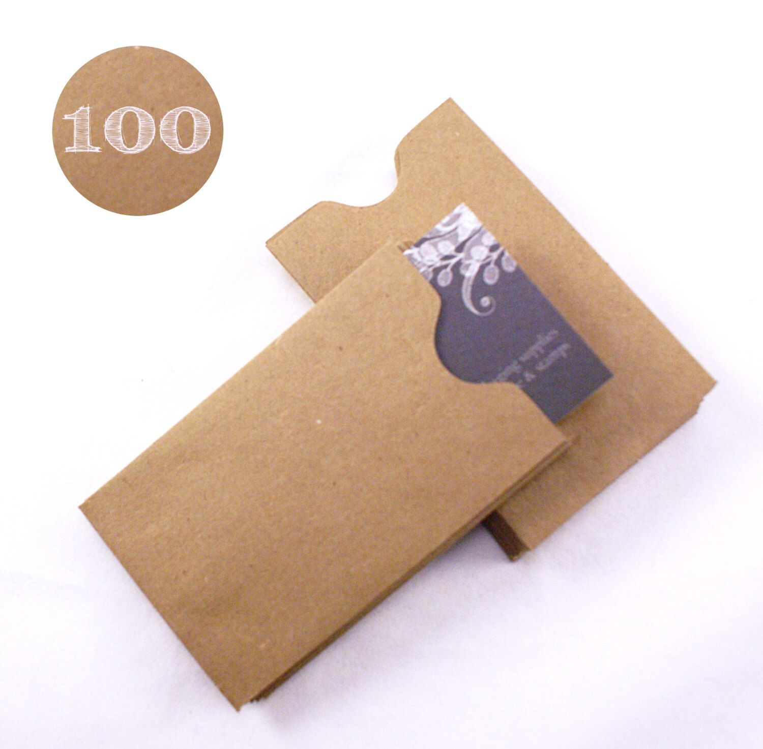 Set of 100 Recycled Kraft Brown Gift Card or Business Card Sleeves ...
