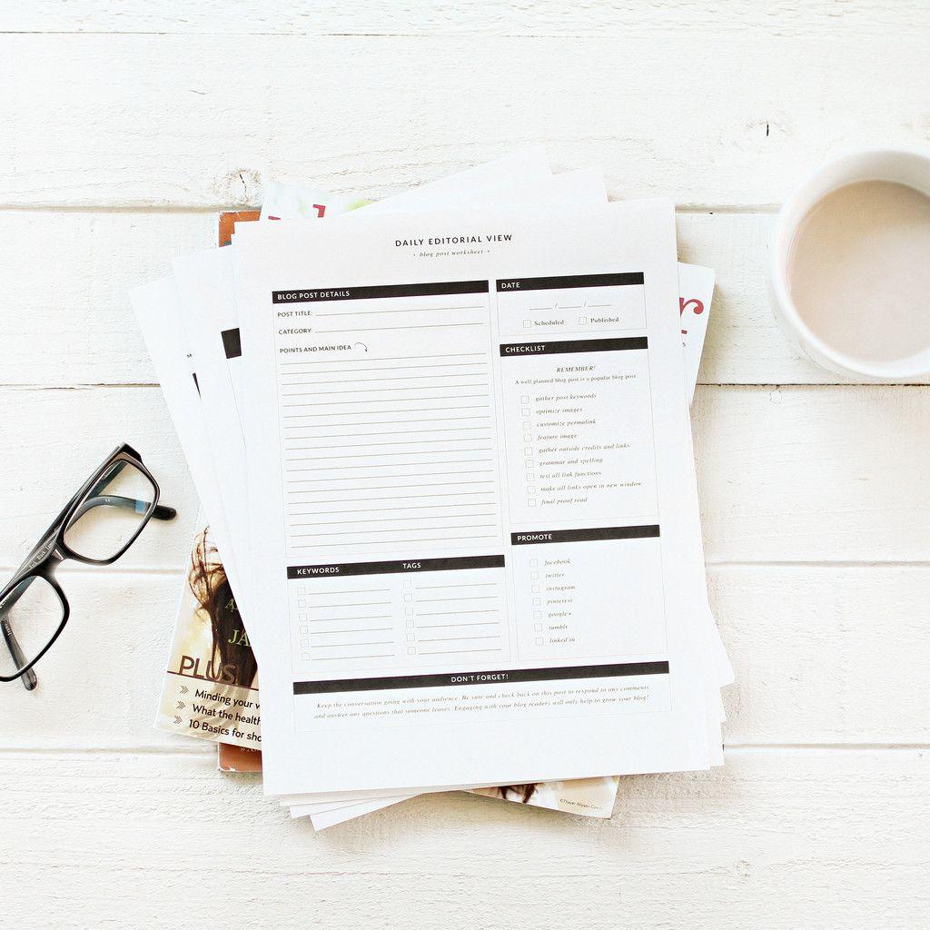 Blog Amp Editorial Planner Worksheets