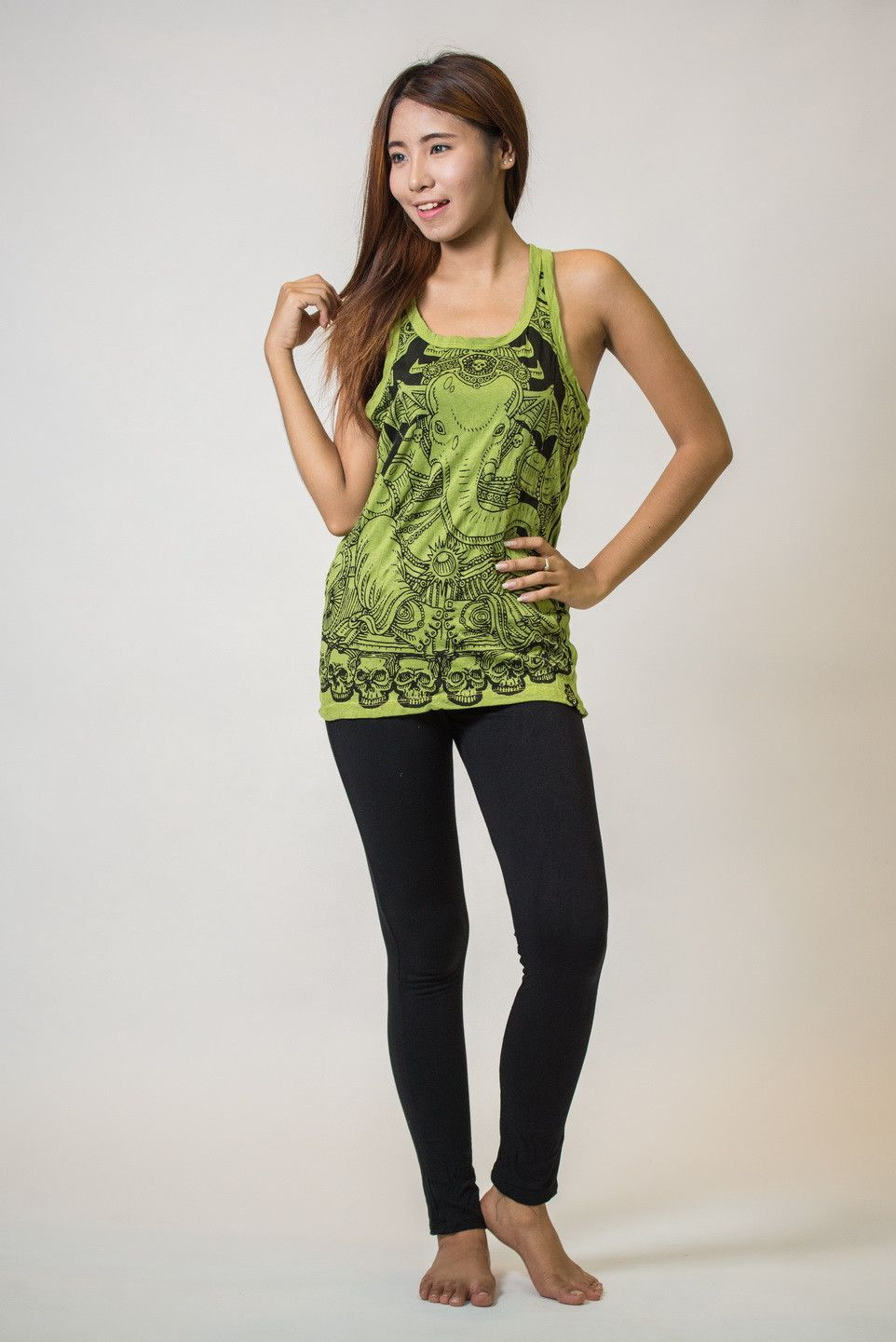 Sure Design Womens Batman Ganesh Tank Top Lime