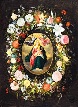 Jan Brueghel the Younger and Frans Francken the Younger, Madonna and Child with Angels Surrounded by a Garland of Flowers, circa 1635 - 1640