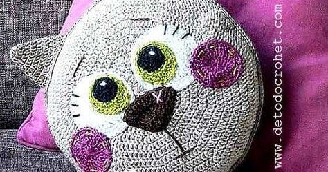 Amigurumi Gato Paso A Paso : Almohadón crochet con diseño de gato paso a paso crochet