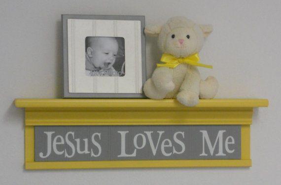 Yellow Christian Wall Decor Art for Nursery - Jesus Loves Me on 24 ...