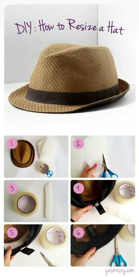 How To Make Your Hat Smaller W Foam Padding And Double Sided Tape Summer Diy Hats Diy Fashion