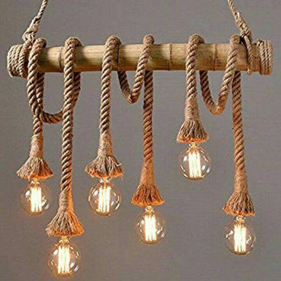 rustic Pendant lighting fixture, retro design Rope ceiling lamp, customizable bamboo lights, Farmhouse decor, Wood ceiling Kitchen Lighting