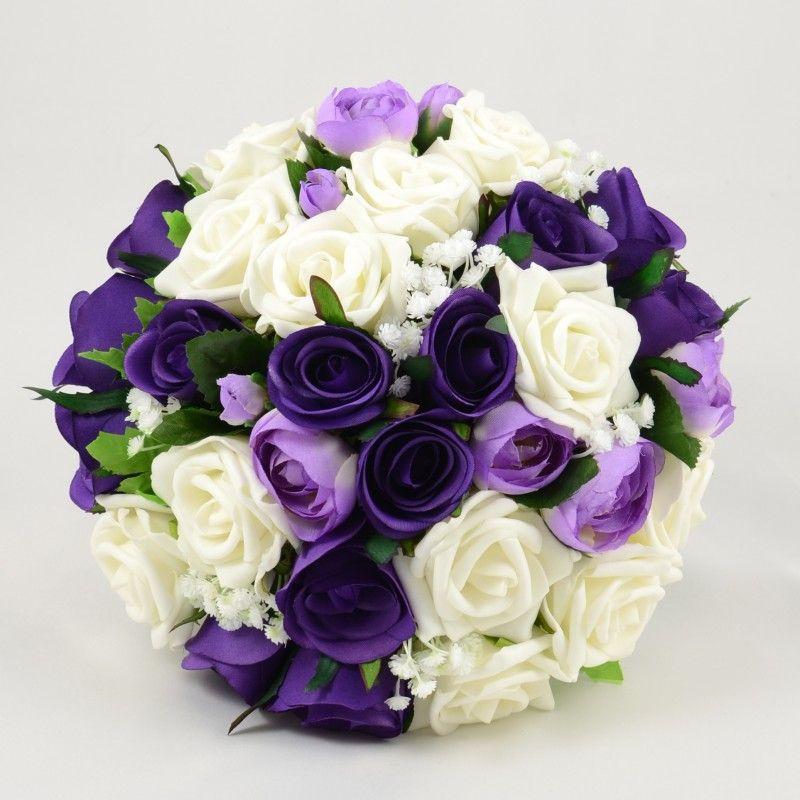 Purple & Ivory Rose With Ranunculus Brides Posy
