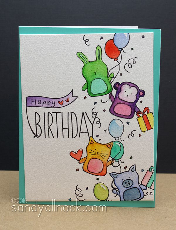 Stamped Birthday Cards Baby Party Animals Birthday Card