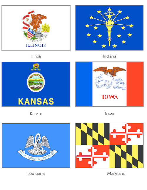 Usa State Flags Il In Ks Ia La Md Kidspressmagazine Com Flag Template State Flags Fun Activities For Kids