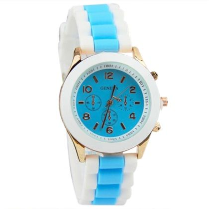 Geneva Women's Analog Quartz Jelly Dual Colors Silicone Band Wrist Watch with Three Sub-dials - Coffee