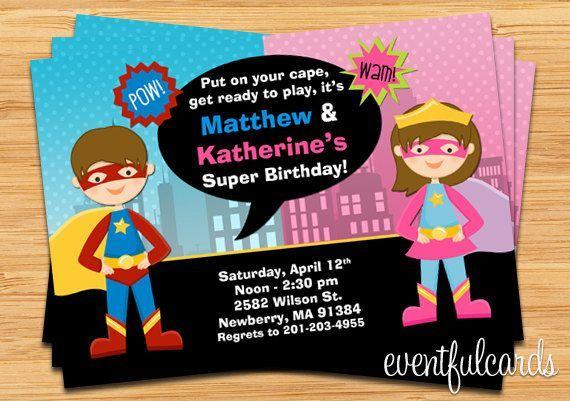 Kids Superhero and Supergirl Joint Birthday Party Invitation - Digital - Printable ,  Kids Superher