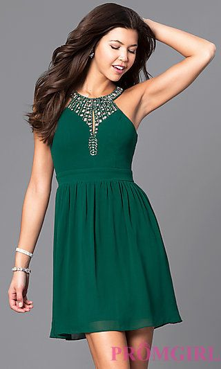 936baec6cfd High-Neck Beaded Keyhole-Bodice Homecoming Dress at PromGirl.com ...