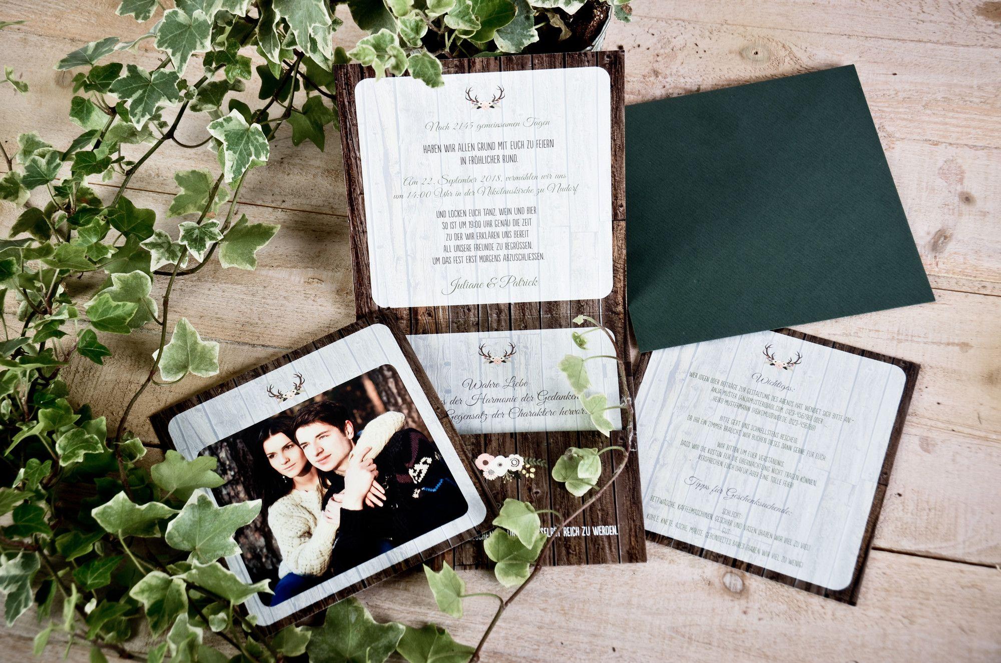 Einladung Hochzeit Für Die Rustikale Hochzeit Auf Der Alm Und In Tracht  Juliane Und Patrick