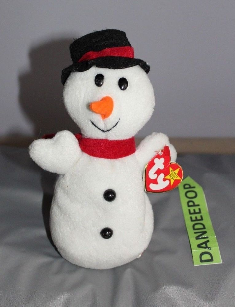 TY Retired Beanie Baby Snowball Snowman With Rare Tag 7