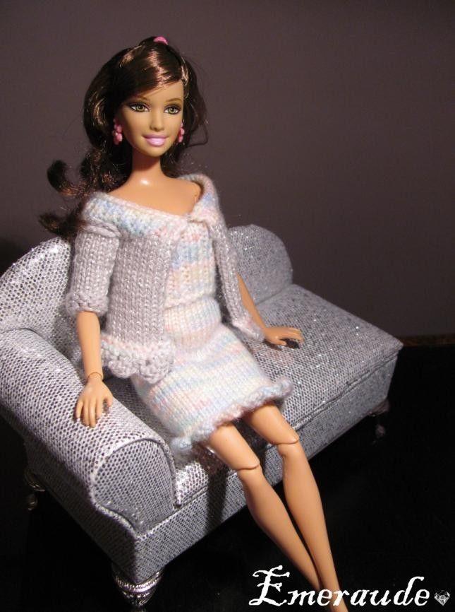 Tricot ensemble n 6 robe et gilet pour barbie v tements pour barbie barbie clothes - Cintre vetement bebe ...