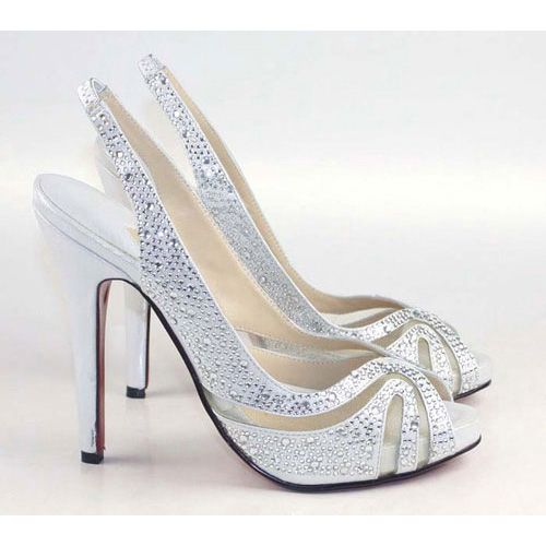 @Brittany Crane ... Silver Satin Diamond High Heel Sandals