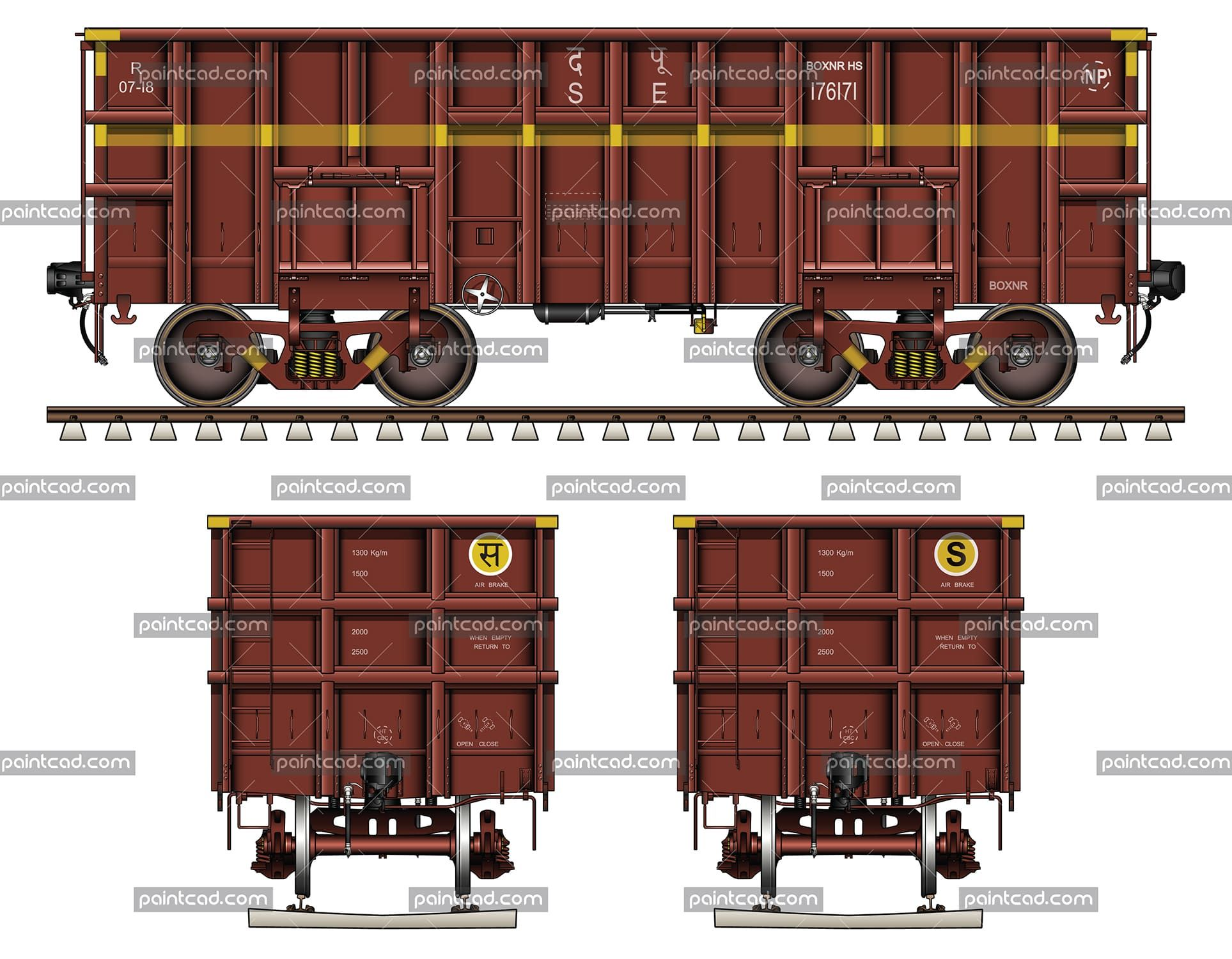 Highsided open wagon type BOXNRHS used by Indian