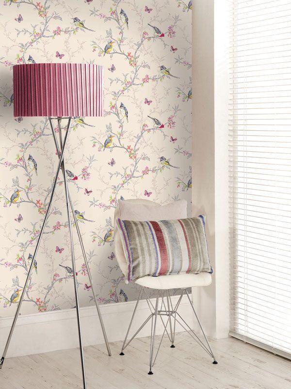 Beautiful Room Decor Holden Phoebe Birds Wallpaper Cream Grey White Or Teal