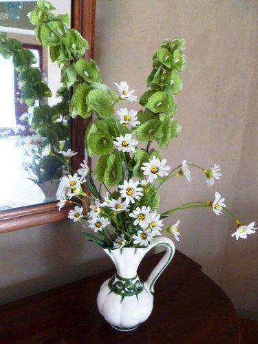 Bells Of Ireland Silk Flowers In Vintage Vase With Bonus Red Rose Arr