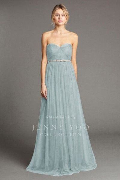9fb23954ca2c Eva Longoria Dusty Blue Strapless Beach Boho Cheap Bridesmaid Dress With Beaded  Sash Maid Of Honor Wedding Party Gown Jenny Yoo Annabelle Wedding Bridesmaid  ...