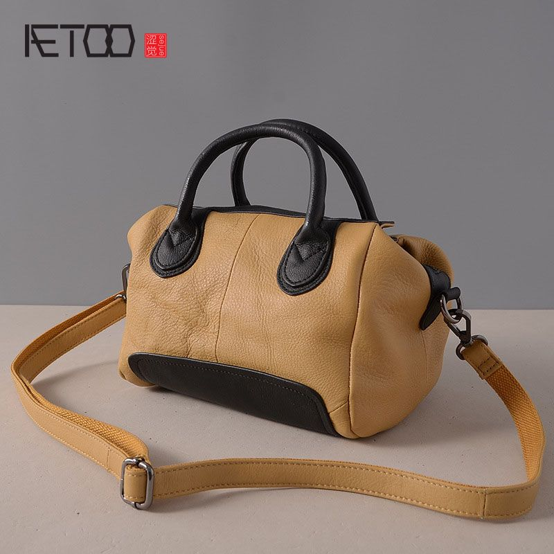 bc8ab54d47 AETOO New leather handbag handbags Korean fashion hit color pillow package  cowhide shoulder Messenger bag