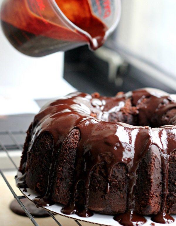 Chocolate Heartland Bundt cake with chocolate honey glaze @RecipeGirl {recipegirl.com} {recipegirl.com} {recipegirl.com}