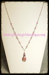 Pink Sediment Jasper & Swarovski Necklace