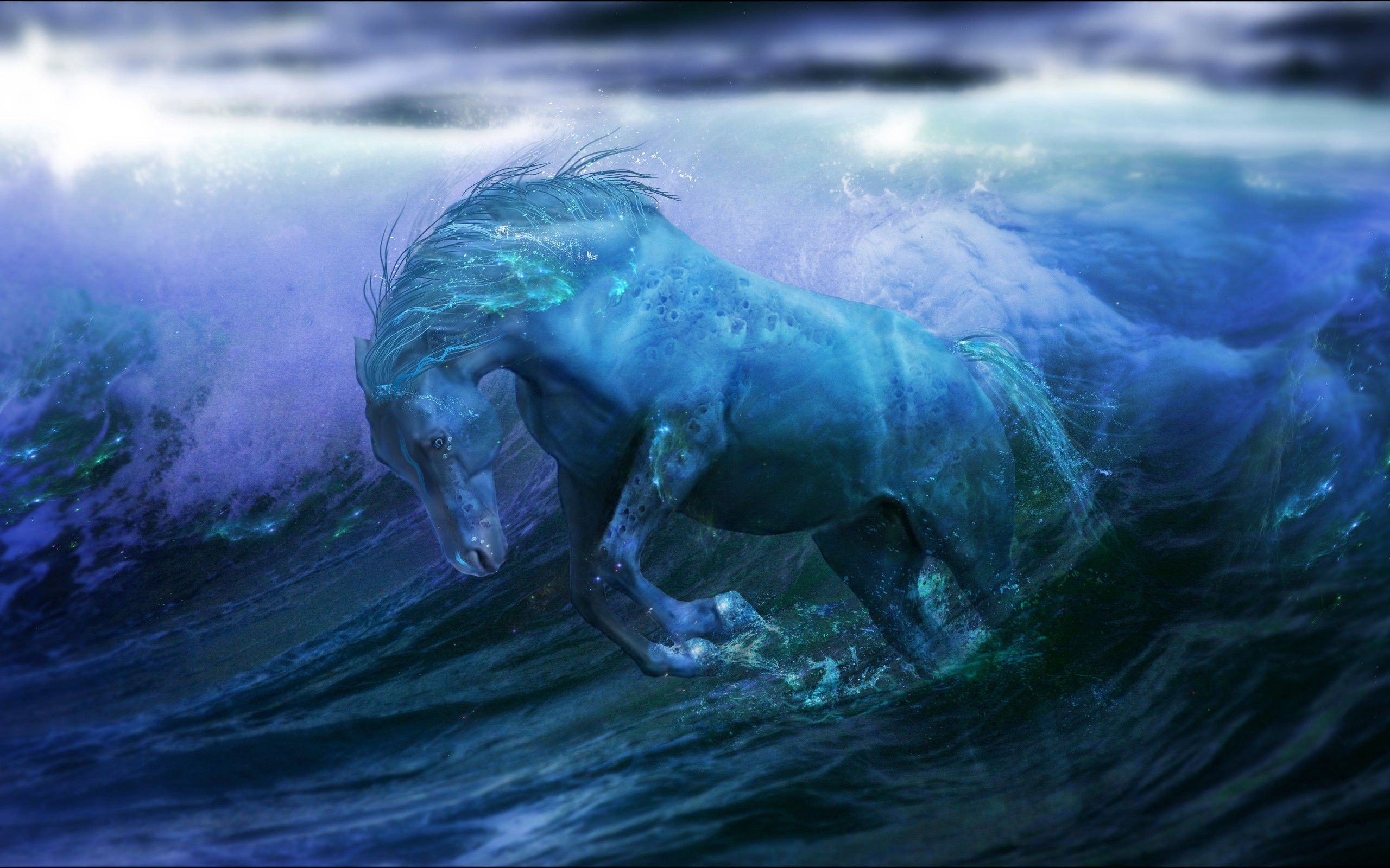 3D Fantasy Art Horses | Abstract Waves Fantasy Art Horses Artwork Wallpaper  Background