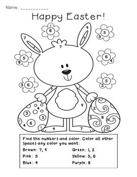 Easter Color By Number Activity 1 50 Perfect For Primary Kiddos Easter Math Activities Easter Colors Easter Math