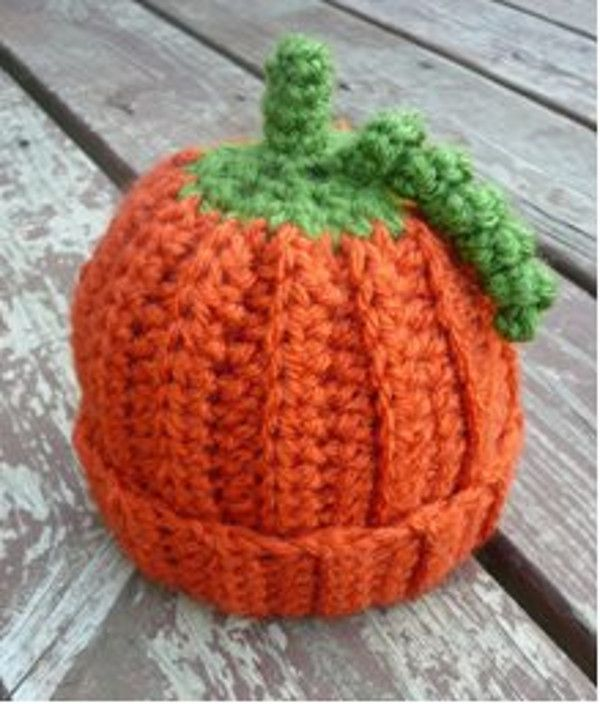 Baby Pumpkin Crochet Beanie Pattern   Free crochet, Crochet and Patterns