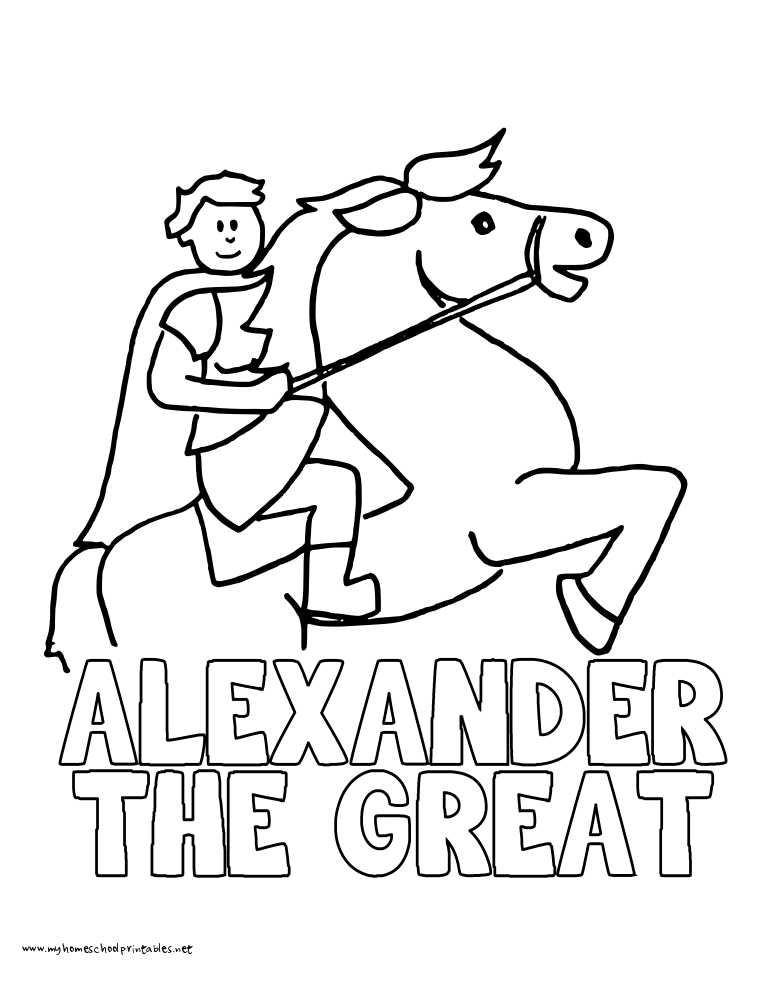 World History Coloring Pages Printables Alexander The Great Bucephalus