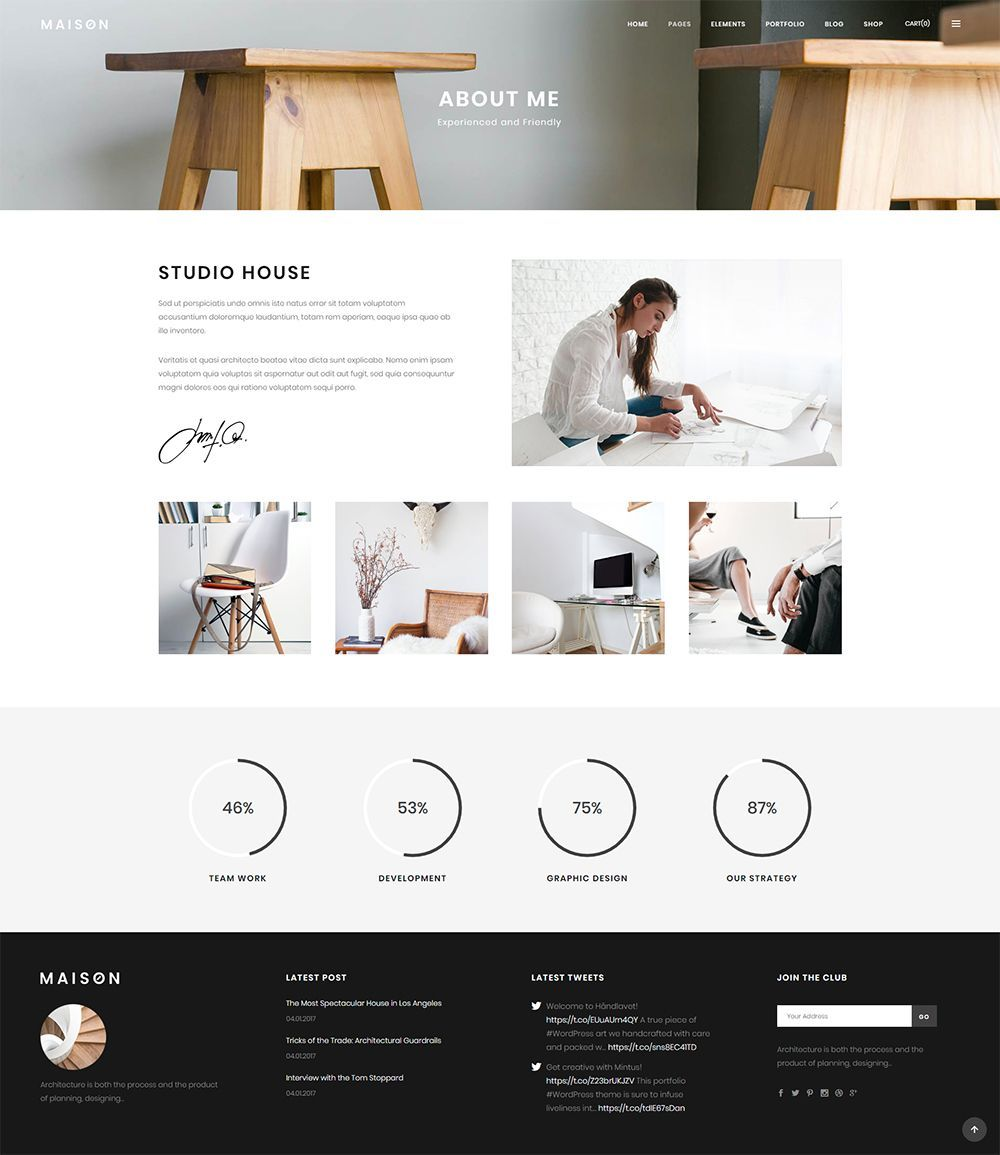 Styled to perfection, Maison WordPress theme will help you build the alluring architecture website in no time. #wordpress #theme #design #webdesign #uxdesign #uidesign #responsive #designinspiration #webdesign #wordpresslove #template #layout #websitedesign