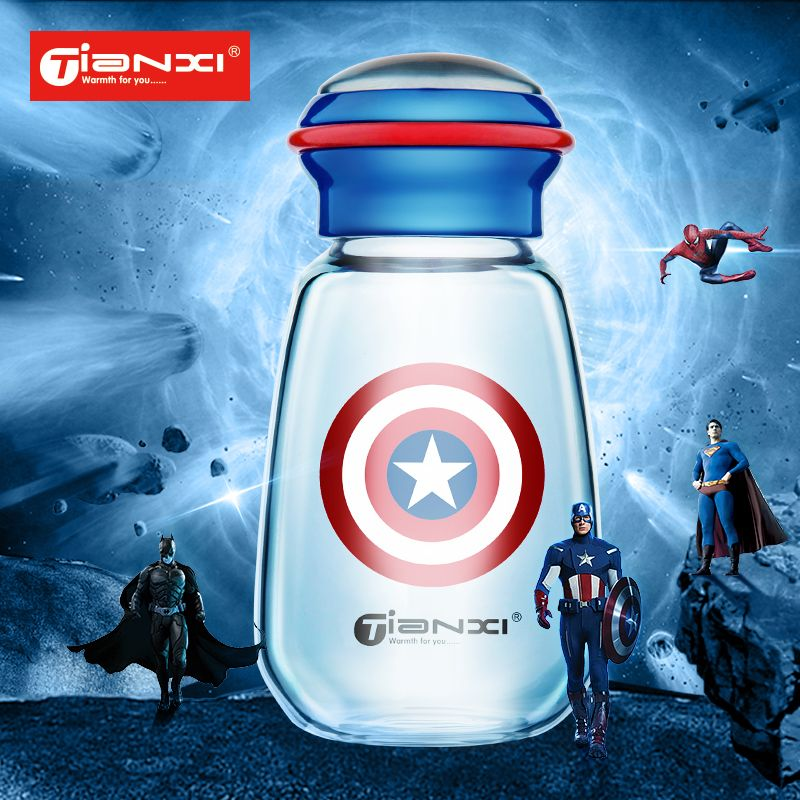 15db985aec 400ml Avengers Glass Cup Birthday Gift glass Water bottle Juice Cup  Children's cup