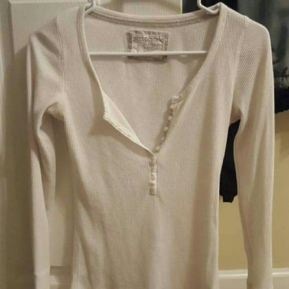 Aeropostale long sleeve Henley  (waffle shirt) This is a while sleeve with buttons down the v neck, long sleeve, waffle shirt, size small Aeropostale Tops Tees - Long Sleeve