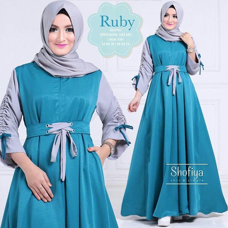 Baju Atasan Pakaian Wanita Gamis Hijabers Ruby Dress Tosca