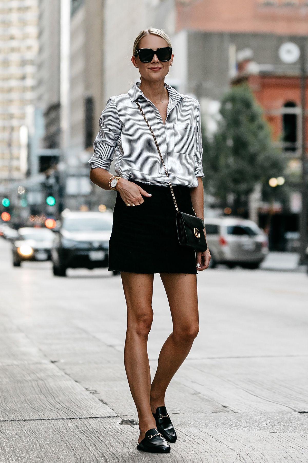 62eef08a4d0 Blonde Wearing Nordstrom Black and White Stripe Shirt Black Denim Skirt  Outfit Gucci Mules Gucci Marmont Handbag Fashion Jackson Dallas Blogger  Fashion ...