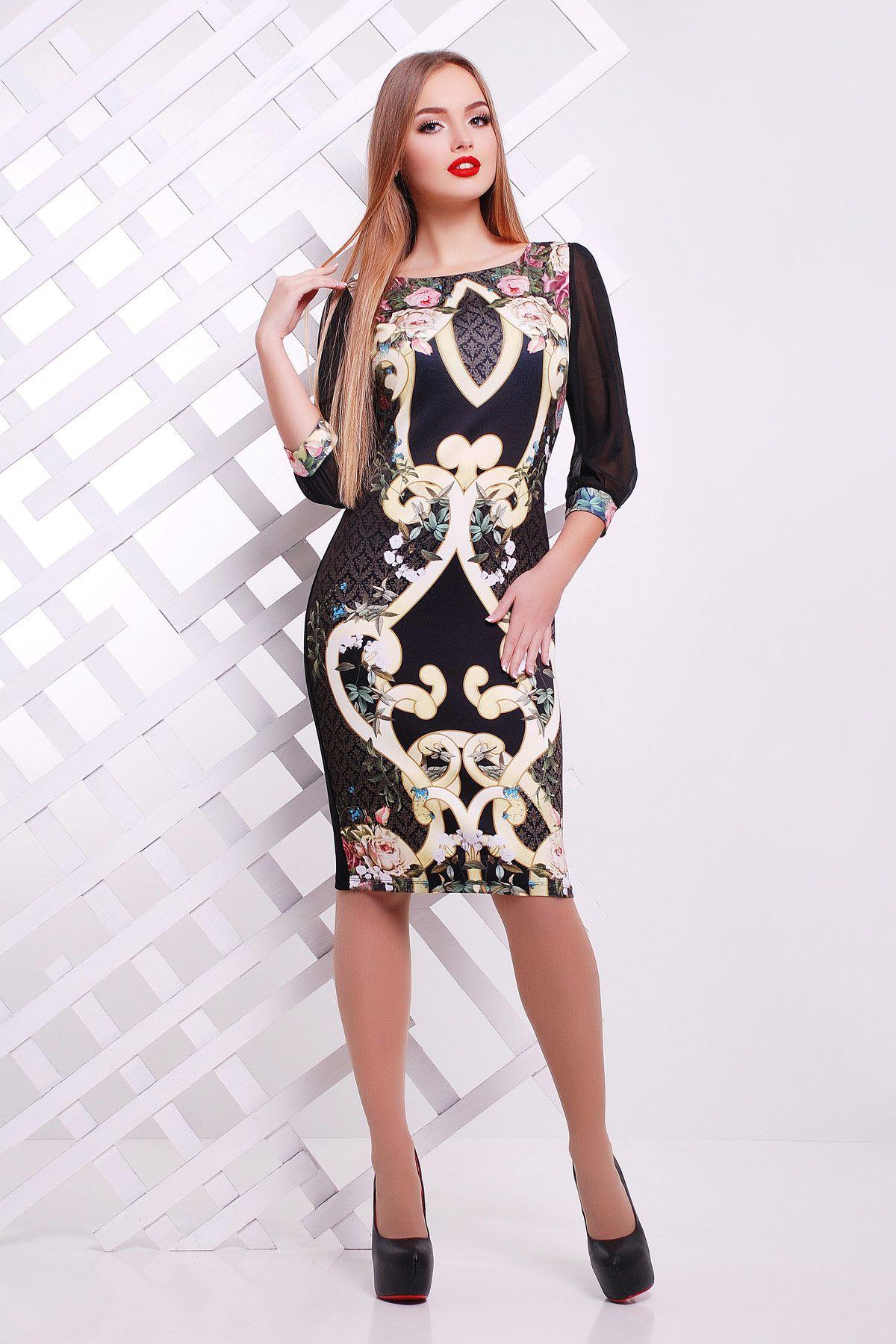 f262d6ef69b Облегающее платье черного цвета на весну-лето с принтом на полочке. Золотой  узор платье Лоя-2Ф (шифон) д р. Цвет  черный