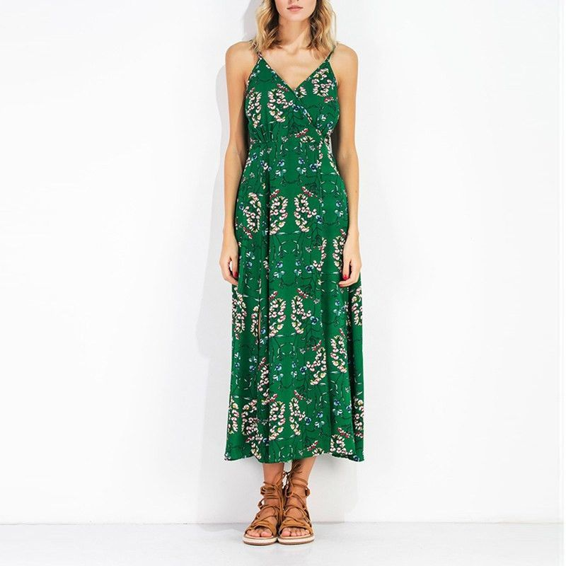 7c2250cdae8 Summer Dress Green Floral Print Long Maxi Dress Sleeveless V Neck Backless