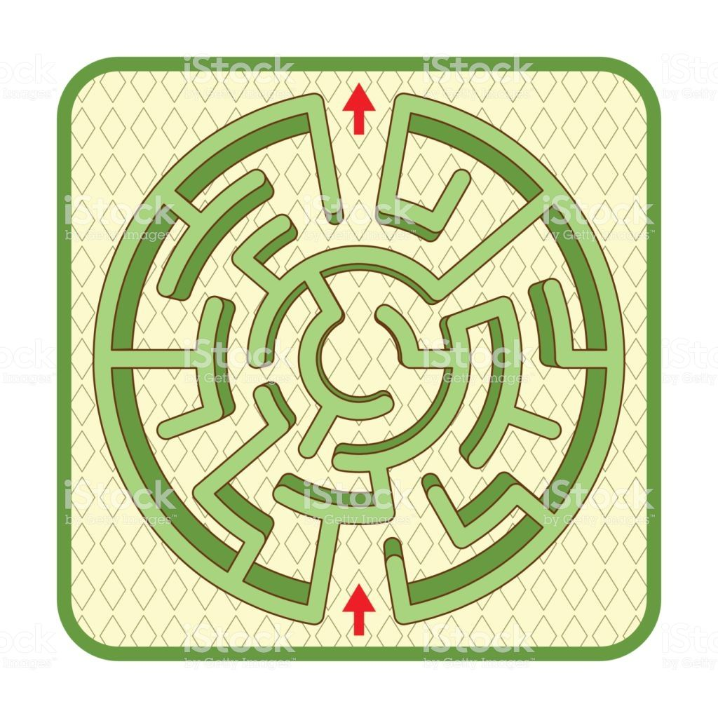 Abstract Three Dimensional Circle Shaped Hedge Maze Game