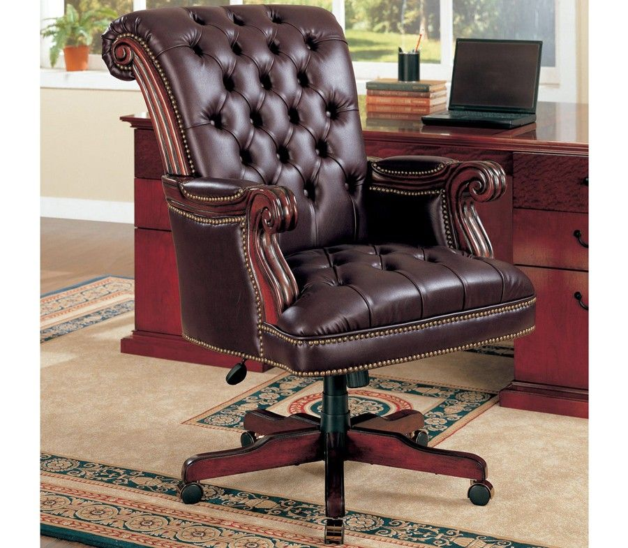 Sebastian Tufted Leather Office Chair Executive Office Chairs Home Office Chairs Traditional Office Chairs