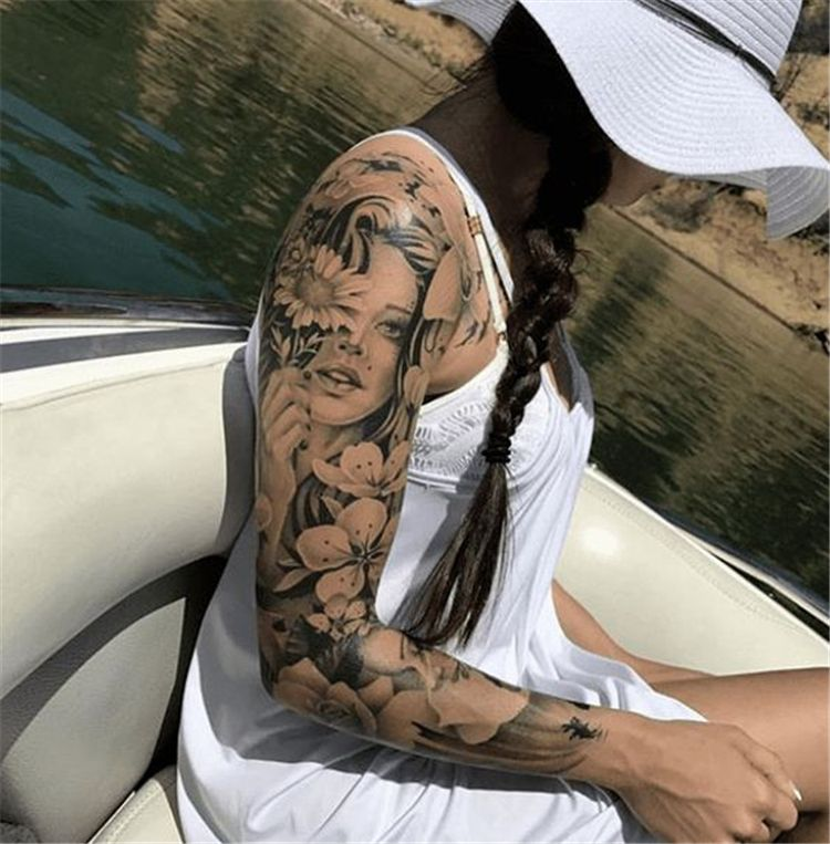 50 Awesome Sleeve Tattoos For Women Which You Will In Love With Page 21 Of 50 With Images Girls With Sleeve Tattoos Sleeve Tattoos Sleeve Tattoos For Women