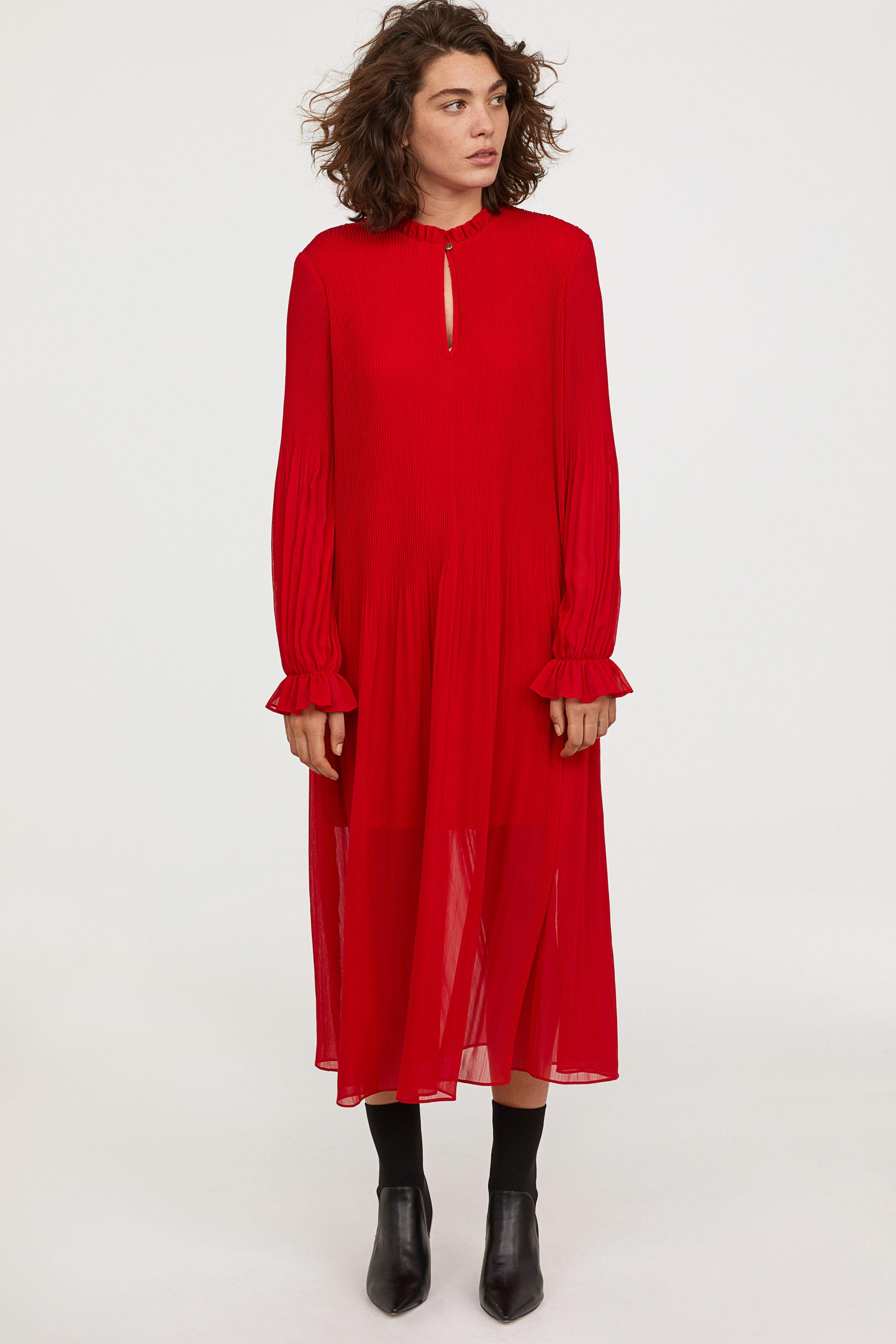 5a9256215be Шифоновое платье плиссе - Красный - Женщины