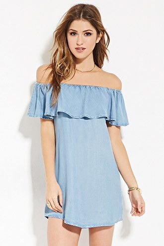 27a5b16de0e0 Chambray Off-the-Shoulder Dress