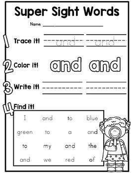 {CUTE} Dolch preprimer sight word practice worksheets for